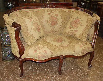Beautiful Contemporary Mahogany Louis XV Style Settee Sofa Loveseat MINT
