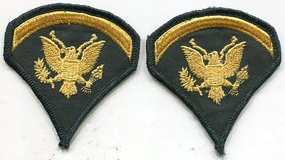 Vintage United States ARMY SPEC 5  Specialist Five RANK SP5 Subdued Patches Pair