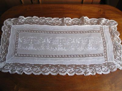 Beautiful Fine Vintage Hand Emb and Lace Tray