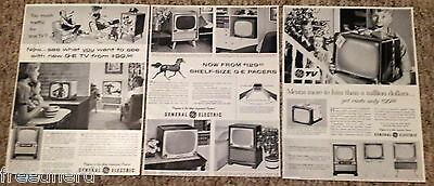 Lot of 3 General Electric GE TV Television Shelf-Size Pacers  Vintage Print Ads