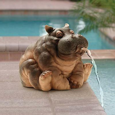 Cute Happy Hippopotamus Hippo Home Garden Water Feature Ready Piped Statue