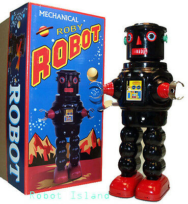 R-35 Tin Toy Robby the Robot version Windup Black Masudaya Style