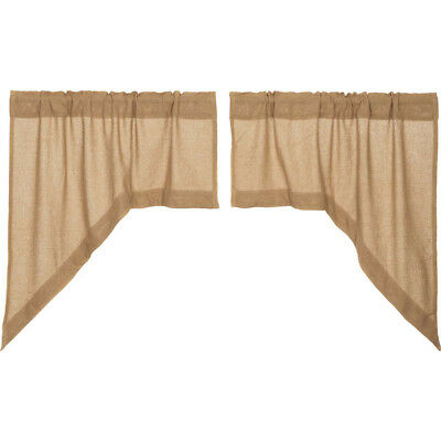 Burlap Natural Window Swag Set of 2 by VHC Brands (Victorian Heart) - Unlined