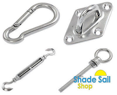 Shade sail accessories Turnbuckles, d shackles, eye bolts, pad eyes, snap hooks