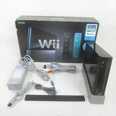 Nintendo Wii Black Console System Boxed RVL-001 Tested No Controller JAPAN 2031