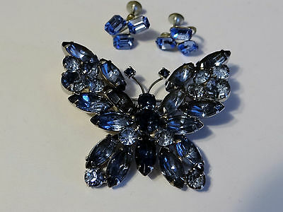 LOVELY Demi Lg Vtg BlueTones Butterfly Pin Brooch JULIANA Excellent w/Earrings!