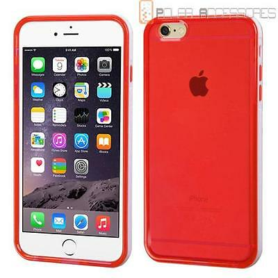 E*White Belly Bumper/Clear Red TPU Candy Case Cover For APPLE iPhone 6 Plus
