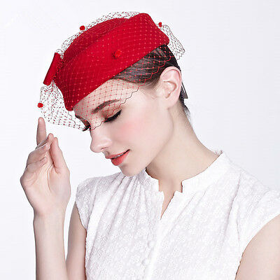 Womens Dress Fascinator Wool Felt Pillbox Hat Party Wedding Bow Veil  Show A080