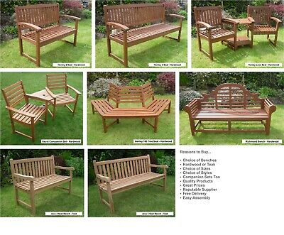 Garden Bench - Choice of Hardwood & Teak Benches & Companion Sets Free Delivery
