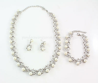 Wedding/Bridal pearl &crystal necklace bracelet ring earrings set WS111