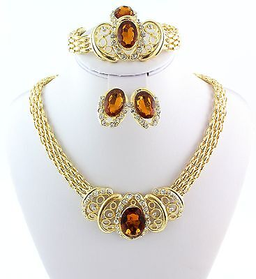 Hot Gold Plated Wedding Jewelry Sets Classic Necklace Bracelet Earring Ring Set