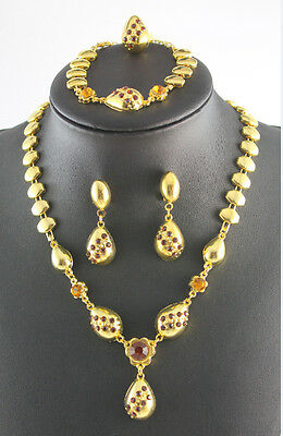 Hot gold plated wedding jewelry set water drop Champagne Crystal Jewelry set