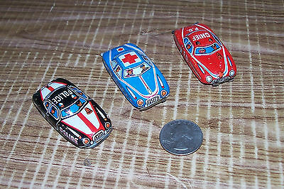 3 Vintage Japanese Pressed Metal Toy Litho Cars Japan Police Fire Department PD