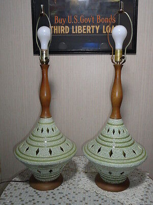 Mid Century Modern Set Of 2 Genie Bottle Style Table Lamps
