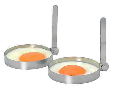 KITCHENCRAFT Pk 2 Stainless Steel Egg Frying/Cooking/Fry Rings W/ Folding Handle