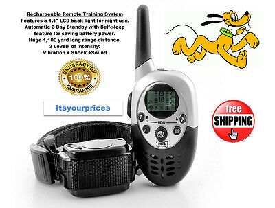 1100 Yard Rechargeable Waterproof Remote LCD Dog Training System Shock Collar @@