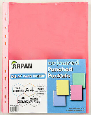 Coloured Punched Pockets A4 Strong Polly 104 Sleeve