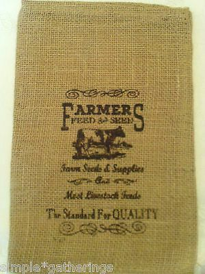 "Natural Burlap Bag / Sack w/ COW Farm Design in Black 12"" x 8"" Crafts Supply"