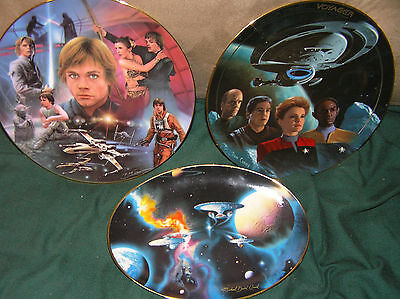 (2) STAR TREK PLATES AND (1) STAR WARS PLATE...(HAMILTON COLLECTION) GREAT COND.