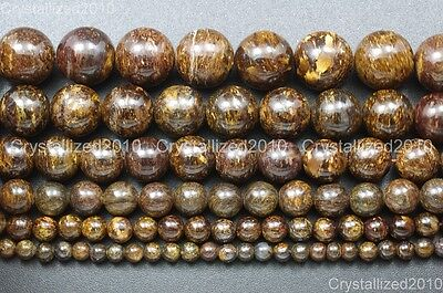 Natural Bronzite Jasper Gemstone Round Beads 4mm 6mm 8mm 10mm 12mm 14mm 15.5""