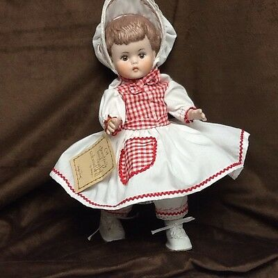 """14"""" Colonial Dressed Porcelain Doll Handmade, Inscribed And Dated In 1977"""