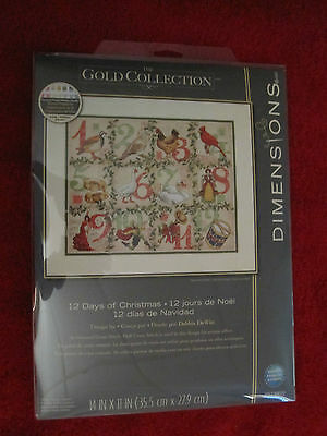 """12 Days of Christmas Counted Cross Stitch Kit Dimensions Gold 14""""x11"""" NIP Sealed"""
