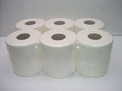 6 Pack 2 Ply White Embossed Centre Feed Paper Wipe Rolls Imptu Tissue