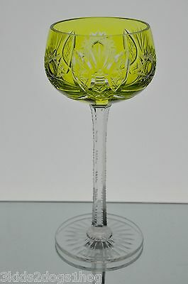 Bohemian French Yellow Cut to Clear Crystal Wine Goblet Vintage 7.25""