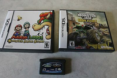 2 DS GAMES MARIO AND LUIGI, BOWSERS INSIDE STORY AND MONSTER JAM-