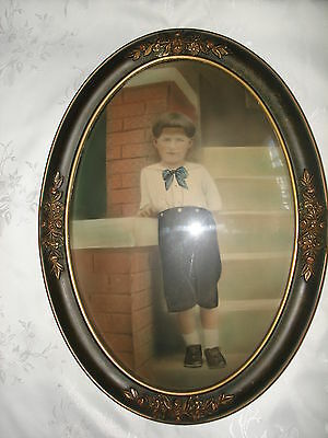 ANTIQUE VICTORIAN WOOD FRAME BUBBLE CONVEX GLASS COLORED PHOTO PICTURE BOYS