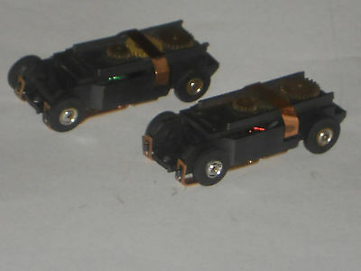 2 VINTAGE AURORA TJET CHASSIS HO SLOT CAR RECONDITIONED