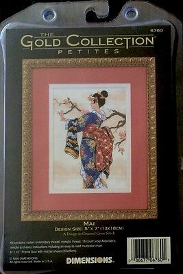 """Dimensions """"Gold Collection"""" Asian Design Mai Counted Cross Stitch Kit #6760 NEW"""