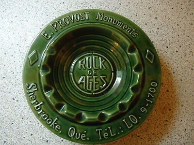 VINTAGE BEAUCE WARE ASHTRAY SHERBROOKE QUEBEC MONUMENTS ROCK OF AGES TOMBSTONES