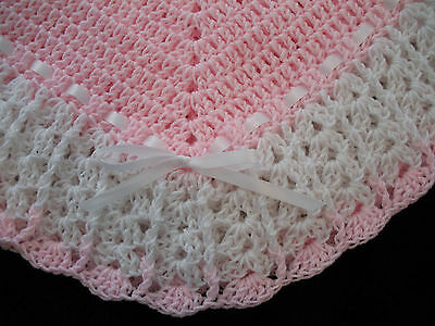 NEW Handmade Crochet Baby Blanket Afghan (Pink and White)