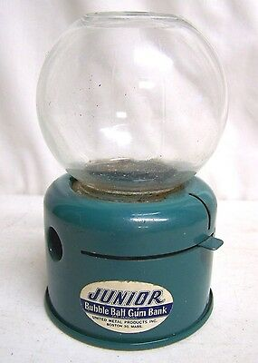 Vintage Teal Green Junior Bubble Ball Gum Bank United Metal Products USA