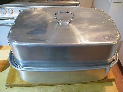 NO RESERVE--Vintage USA Mirro Aluminum Roasting Pan w/ Lid and Lifter