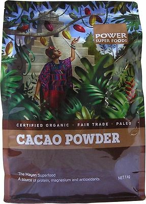 POWER SUPER FOODS Cacao 1kg Organic Pure Raw Chocolate Powder Mayan superfood
