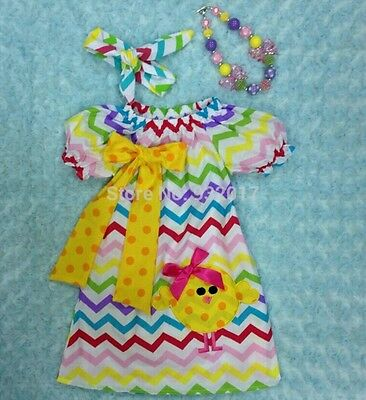 Boutique Easter/Spring 3 pc Set Chick Dress, Headband & Chunky Necklace size 7