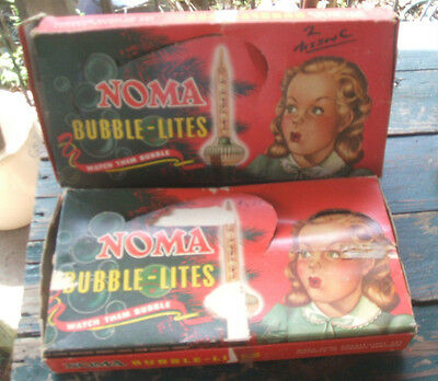 Vintage PAIR NOMA BUBBLE-LITEs XMAS LIGHTS&BOXEs Working Lights CHRISTMAS