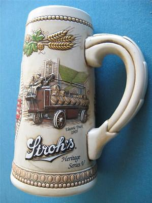 """Stroh's Beer Stein """"Delivery Vehicles of the Past"""" by Ceramarte Braxil #108981"""