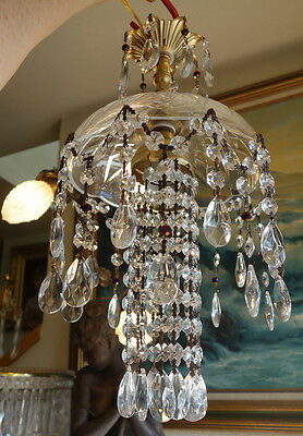 1of2 purple beaded SWAG hanging Jelly Fish vintage Lamp Chandelier brass crystal