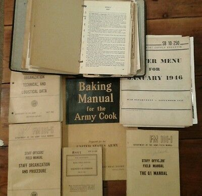 Lot of Department of the Army Field manuals. Cook book WWII Photo Picture