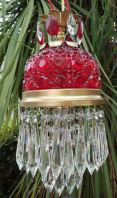 1of2 Vintage ruby lady cupcake glass crystal Brass hanging SWAG lamp chandelier