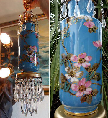 1of2 Vintage Limoges Porcelain Asian Turquoise Pink Flowers Brass SWAG lamp Crys