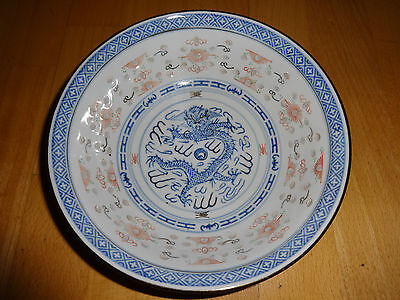 GORGEOUS LARGE CHINESE BOWL IN BLUE, WHITE & RED WITH CHINESE DRAGON DESIGN !