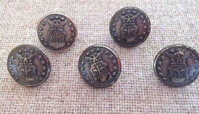 Vintage 5 Silvertone Air Force Military Buttons Connecticut Waterbury Button Co