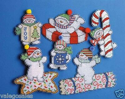 Design Works Counted Cross Stitch Kit ~ SWEETIE SNOWMAN 6 Ornaments #1669 Sale