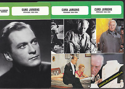 CURD JURGENS Movie Star FRENCH BIOGRAPHY PHOTO 3 CARDS