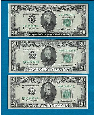 (3) 1950 B $20 FEDERAL RESERVE NOTES