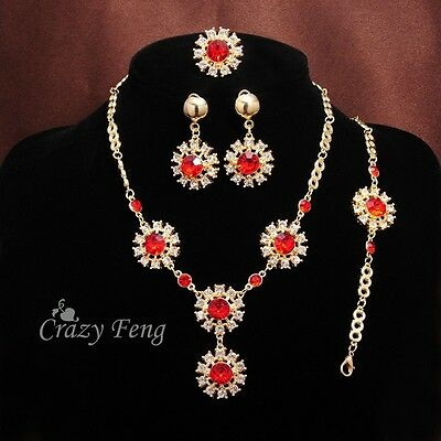 Fashion Gold Plated Red Ruby Crystal Wedding Party Necklace Earring Jewelry Set